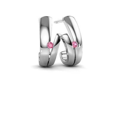 Earrings Shela 925 silver pink sapphire 2 mm