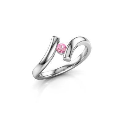 Foto van Ring Amy 950 platina roze saffier 3 mm