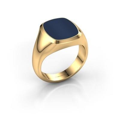 Foto van Zegelring Benjamin 3 585 goud donker blauw lagensteen 14x12 mm