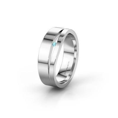Wedding ring WH6000L16AP 585 white gold blue topaz ±6x1.7 mm