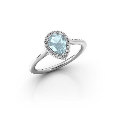 Engagement ring Monique 1 585 white gold aquamarine 7x5 mm