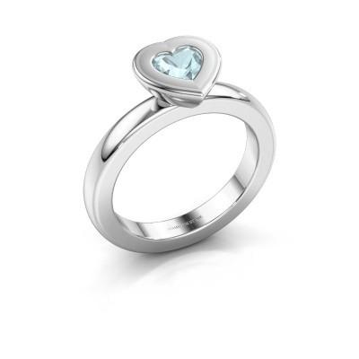 Stapelring Eloise Heart 925 zilver aquamarijn 5 mm