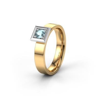 Trouwring WH2112L14A 585 goud aquamarijn ±4x1.7 mm
