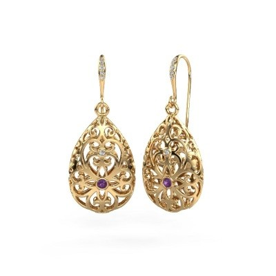Picture of Drop earrings Idalia 2 585 gold amethyst 2 mm