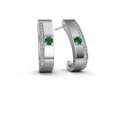 Oorbellen Vick1 950 platina smaragd 2.4 mm