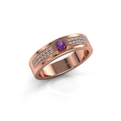 Ring Chanell 375 rosé goud amethist 3 mm