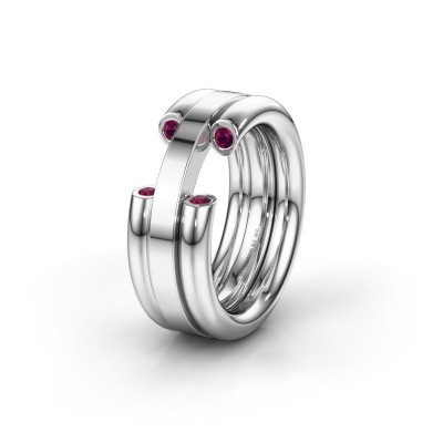 Wedding ring WH6018L 925 silver rhodolite ±0.31x0.12in