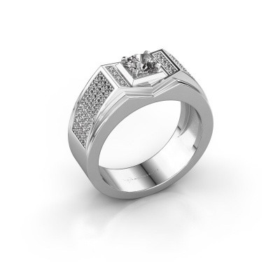 Men's ring Marcel 375 white gold zirconia 5 mm