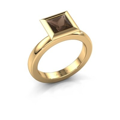 Stapelring Trudy Square 585 goud rookkwarts 6 mm