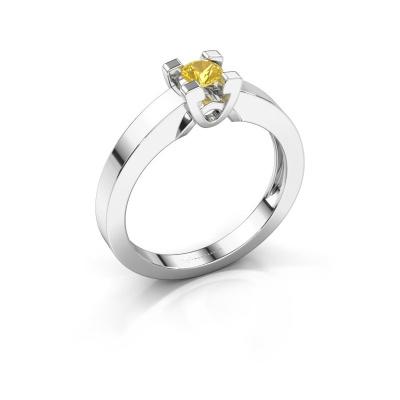 Verlovingsring Nina 1 925 zilver gele saffier 3.7 mm