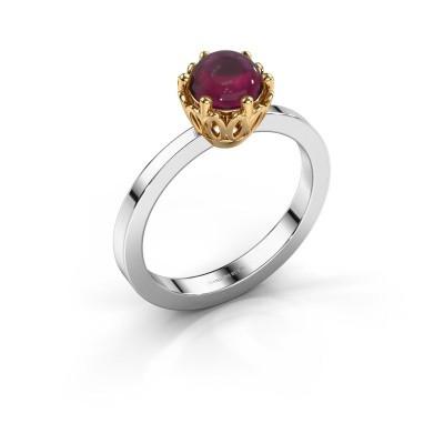 Ring Marly 585 witgoud rhodoliet 6 mm