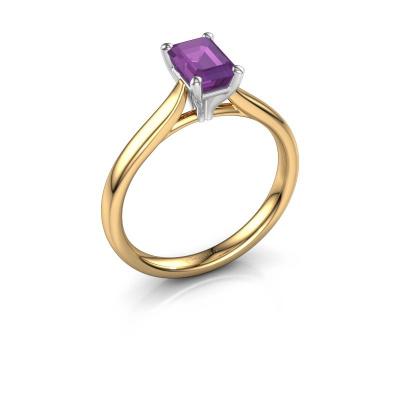 Verlovingsring Mignon eme 1 585 goud amethist 6.5x4.5 mm