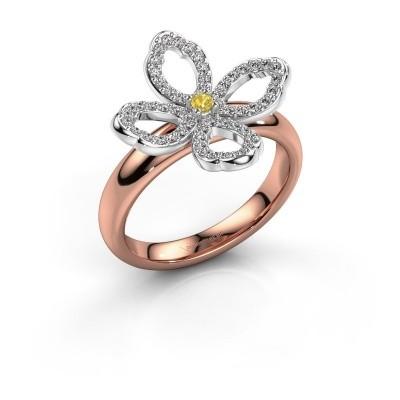 Ring Chelsea 585 rosé goud gele saffier 2 mm
