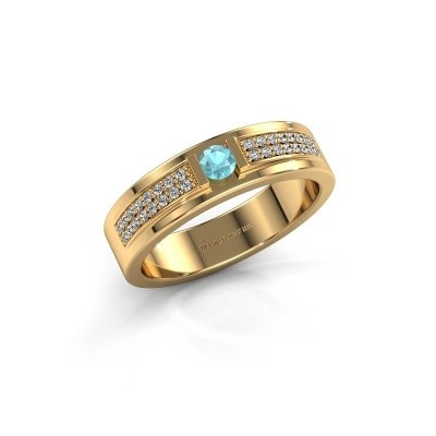Ring Chanell 375 goud blauw topaas 3 mm