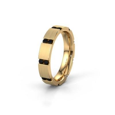 Huwelijksring WH2132L14BM 375 goud zwarte diamant ±4x2.2 mm