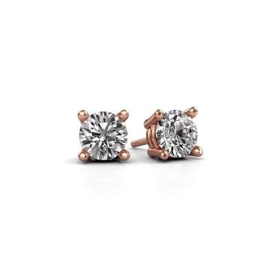 Foto van Oorstekers Jannette 375 rosé goud diamant 1.00 crt