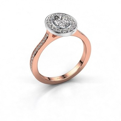 Ring Madelon 2 585 rosé goud zirkonia 7x5 mm
