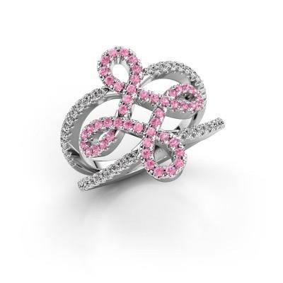 Foto van Ring Chantay 925 zilver roze saffier 1.2 mm