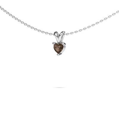 Foto van Ketting Garnet 925 zilver rookkwarts 4 mm