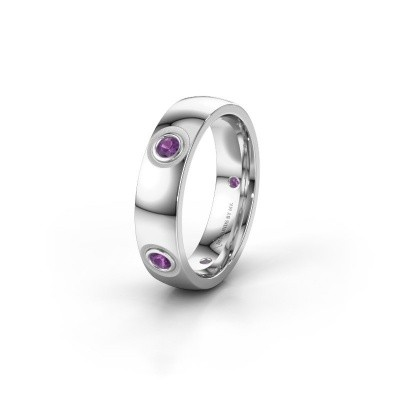 Picture of Wedding ring WH0139L25BP 585 white gold amethyst ±0.20x0.08 in