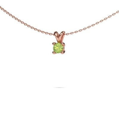 Picture of Necklace Sam round 375 rose gold peridot 4.2 mm