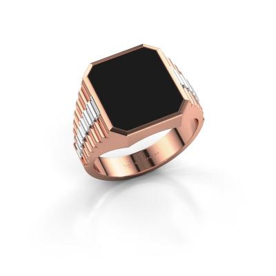 Foto van Zegelring Brent 3 585 rosé goud zwarte emaille 14x12 mm
