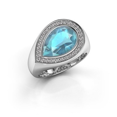Ring Latashia 375 witgoud blauw topaas 12x8 mm