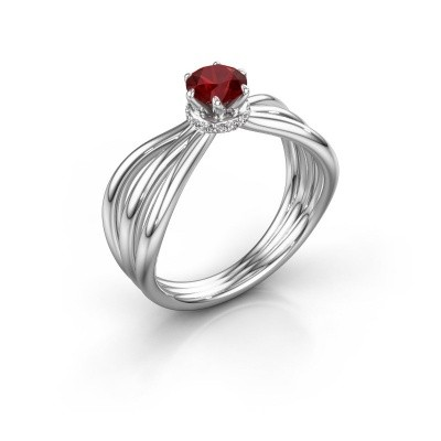 Engagement ring Kimi 585 white gold ruby 5 mm