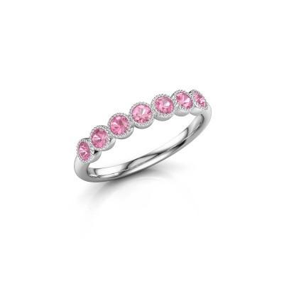 Foto van Ring Mariam half 950 platina roze saffier 2.4 mm