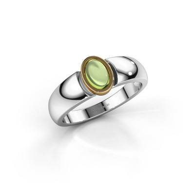 Ring Tonneke 585 white gold peridot 6x4 mm