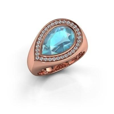 Ring Latashia 375 rosé goud blauw topaas 12x8 mm