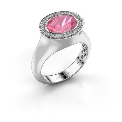 Bague Phebe 375 or blanc saphir rose 10x8 mm