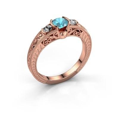 Foto van Promise ring Tasia 375 rosé goud blauw topaas 5 mm
