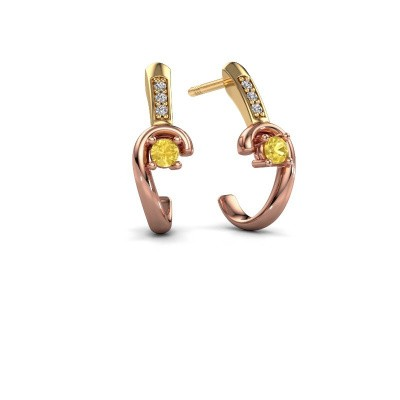 Earrings Ceylin 585 rose gold yellow sapphire 2.5 mm