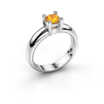 Ring Fleur 950 platina citrien 4.7 mm