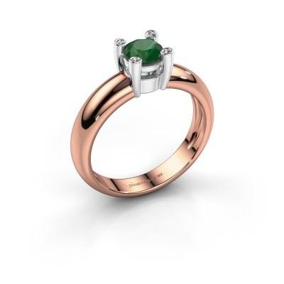 Ring Fleur 585 rosé goud smaragd 4.7 mm