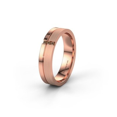 Wedding ring WH0157L14XPM 375 rose gold brown diamond ±4,5x1.4 mm