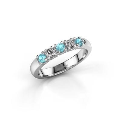 Foto van Ring Rianne 5 585 witgoud blauw topaas 2.7 mm