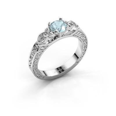 Engagement ring Gillian 925 silver aquamarine 5 mm