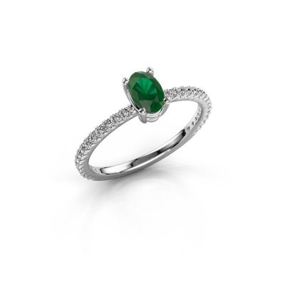 Foto van Verlovingsring Lynelle 2 585 witgoud smaragd 6x4 mm