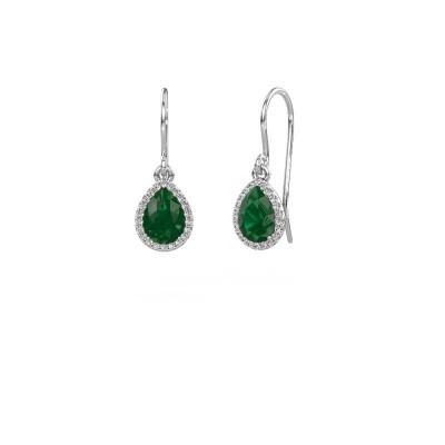 Picture of Drop earrings Seline per 950 platinum emerald 7x5 mm