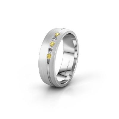 Trouwring WH0323L25AM 925 zilver gele saffier ±6x1.7 mm