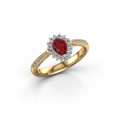Picture of Engagement ring Chere 2 585 gold ruby 6x4 mm