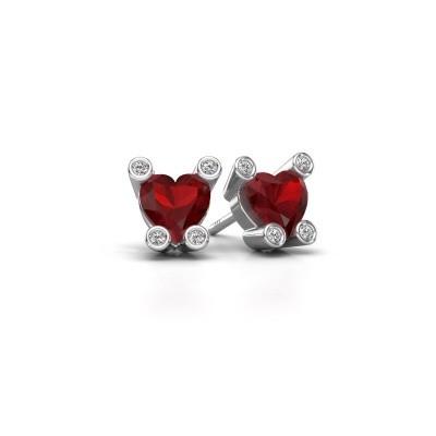 Oorstekers Cornelia Heart 950 platina robijn 6 mm