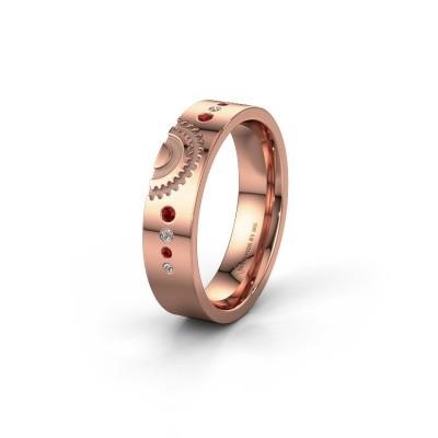 Trouwring WH2116L25A 375 rosé goud robijn ±5x1.7 mm
