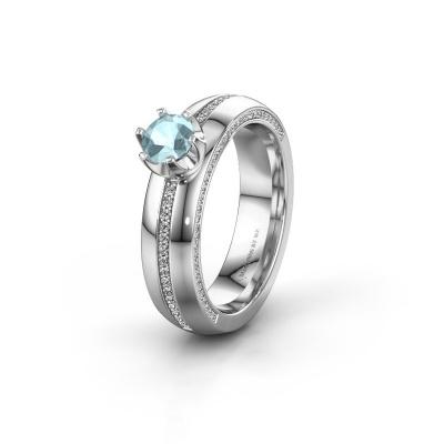 Huwelijksring WH0416L25E 950 platina aquamarijn ±5x2.6 mm