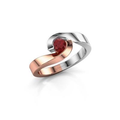 Foto van Ring Sheryl 585 rosé goud robijn 4 mm