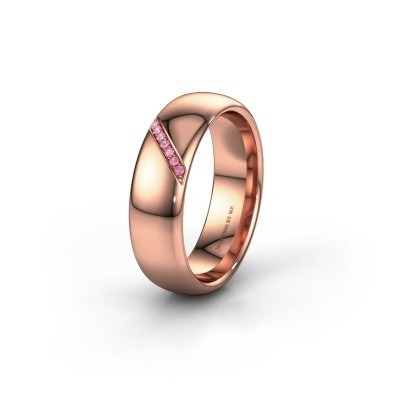 Wedding ring WH0164L36B 375 rose gold pink sapphire ±0.24x0.08 in