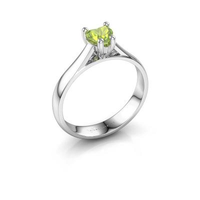 Engagement ring Sam Heart 925 silver peridot 5 mm