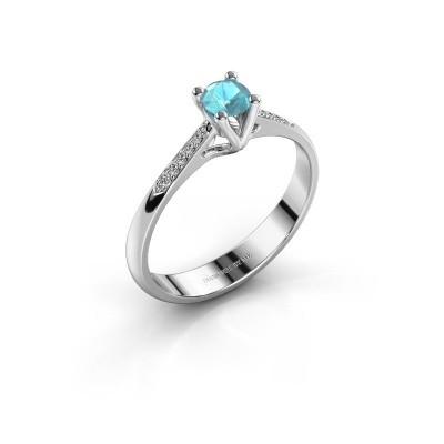 Promise ring Janna 2 950 platina blauw topaas 4 mm